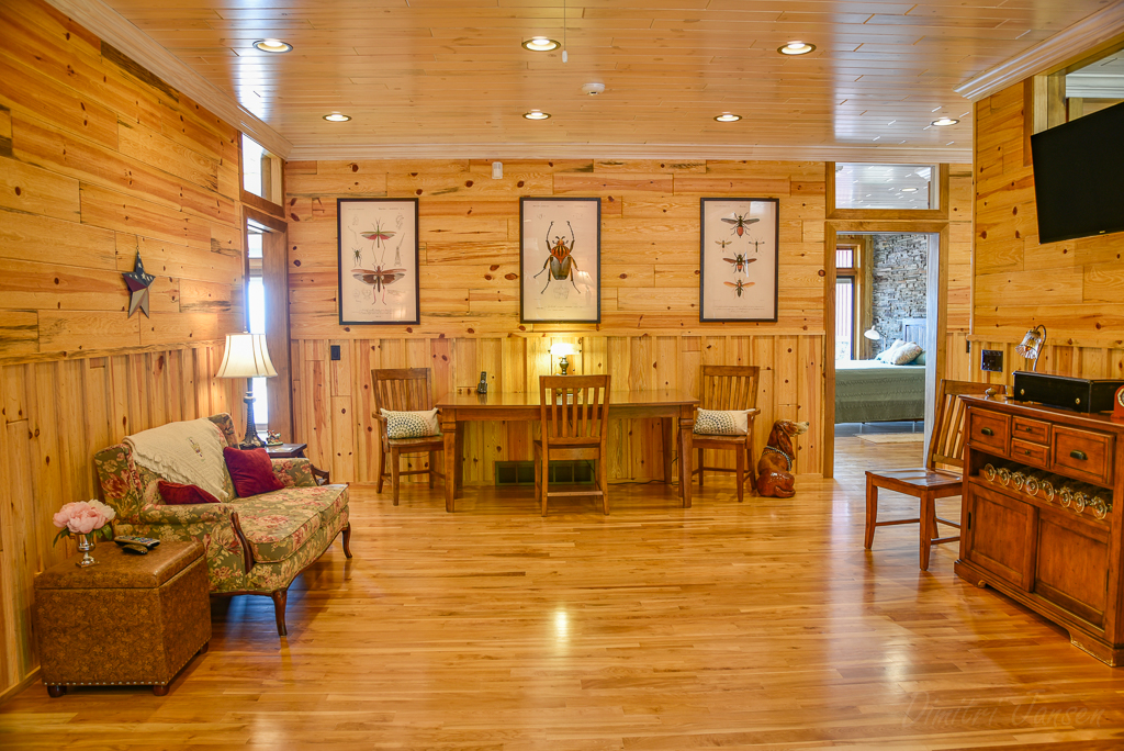 Natural Blue Barnwood with White Wash Paneling Ceiling